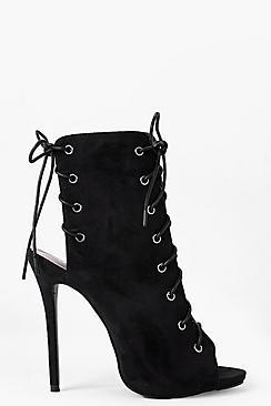 Faye Chaussures Bottes Peep Toe À Lacets