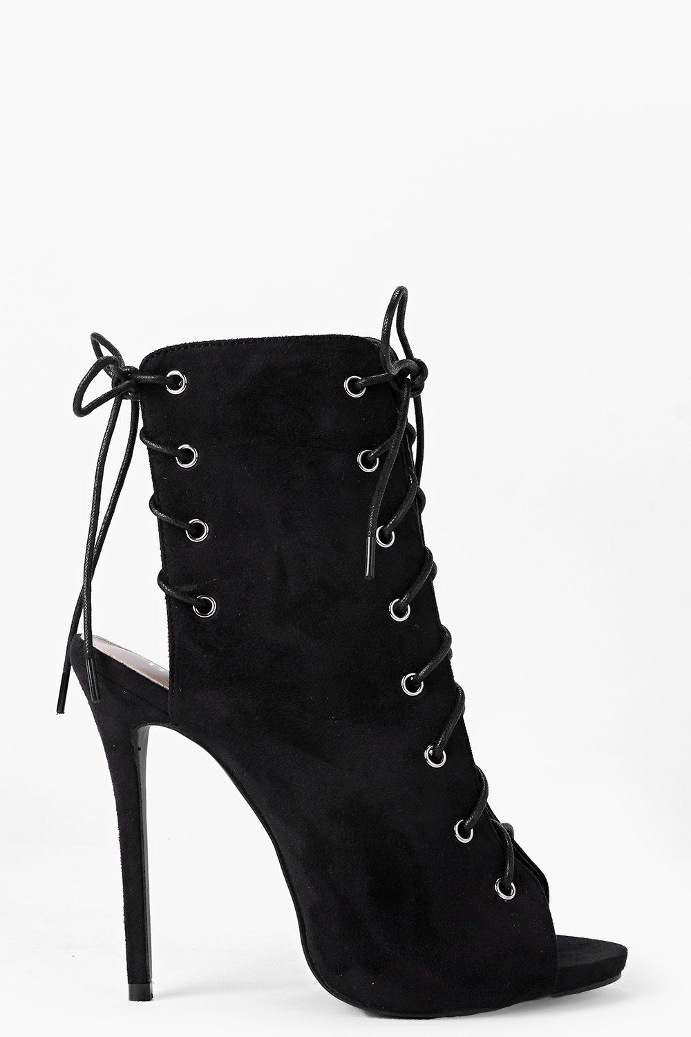 Faye Lace Up Peeptoe Shoe Boot