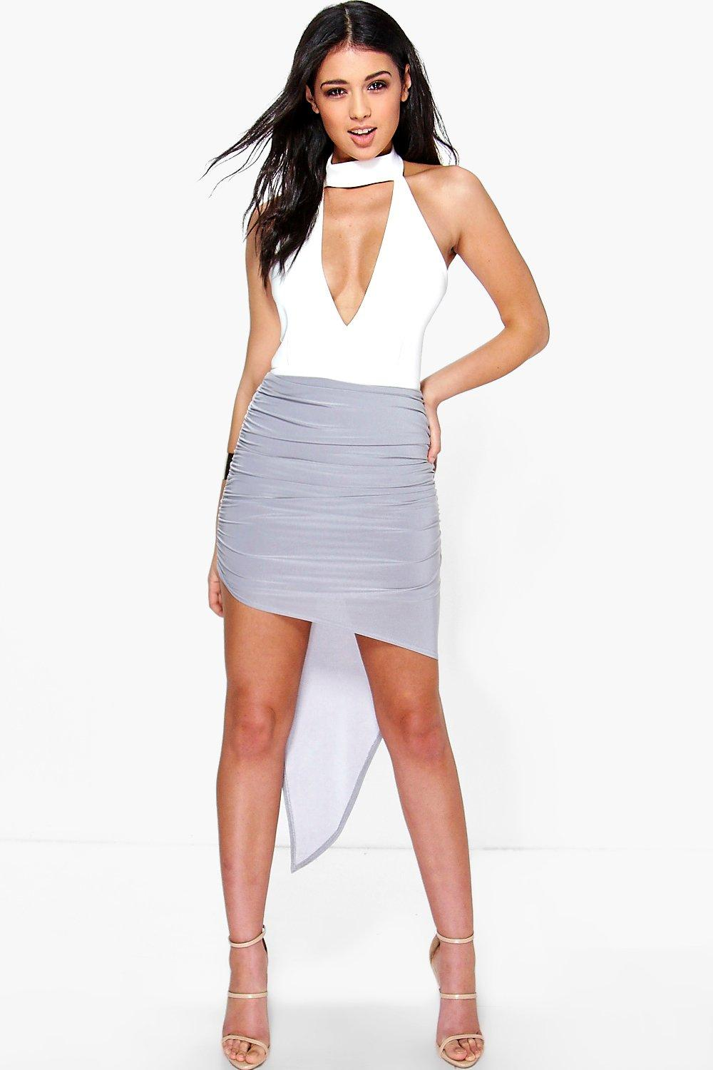 Amarah Rouched Asymetric Midi Skirt
