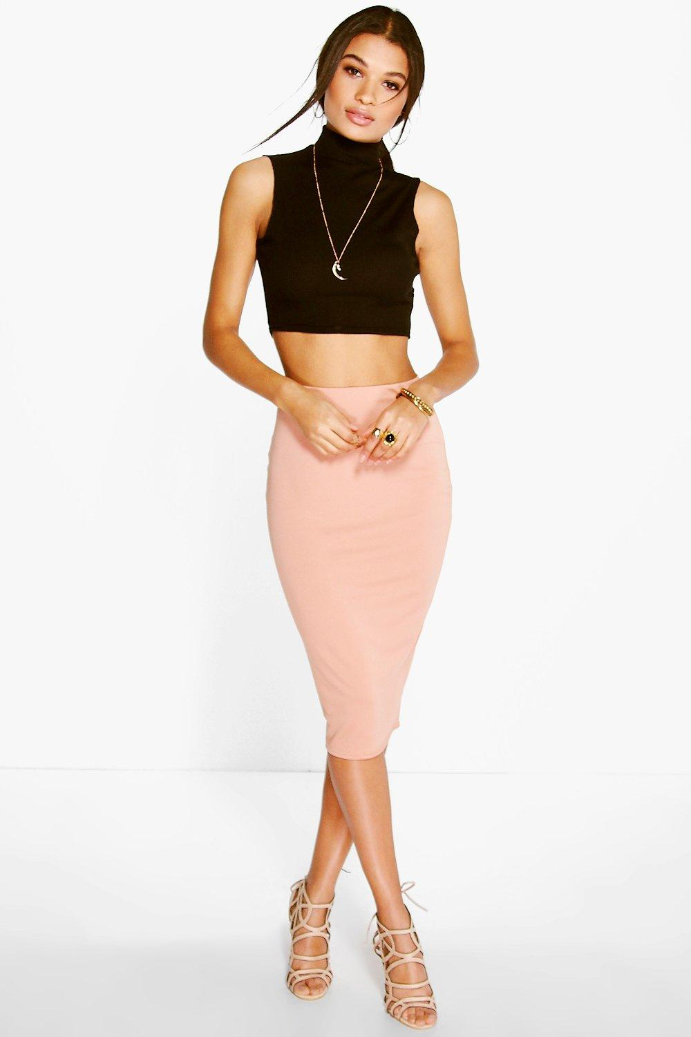 Soft Crepe Midi Skirt blush