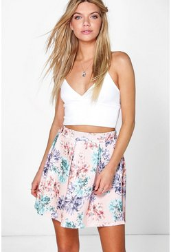 Iona Pastel Floral Box Pleat Skater Skirt
