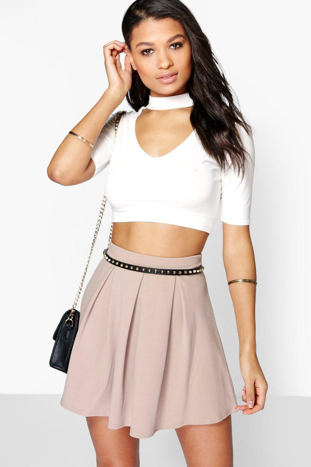 Aya Basic Scuba Box Pleat Skater Skirt
