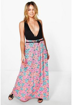 Iman Floor Sweeping Neon Floral Maxi Skirt