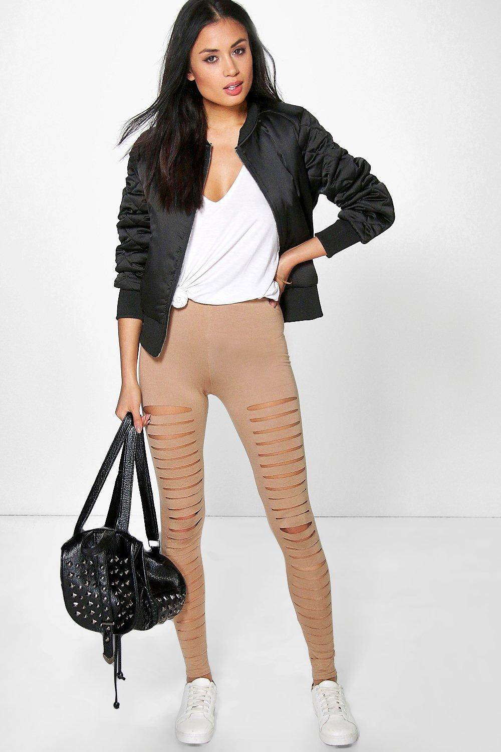 Amalia Split Front Basic Leggings camel