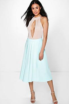 Beau Box Pleat Skater Skirt