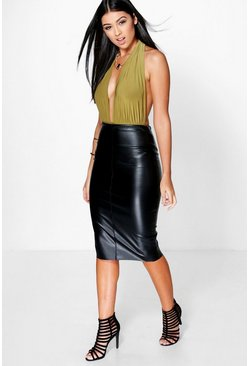Loren Leather Look Midi Skirt