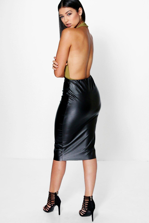 boohoo womens loren leather look midi skirt