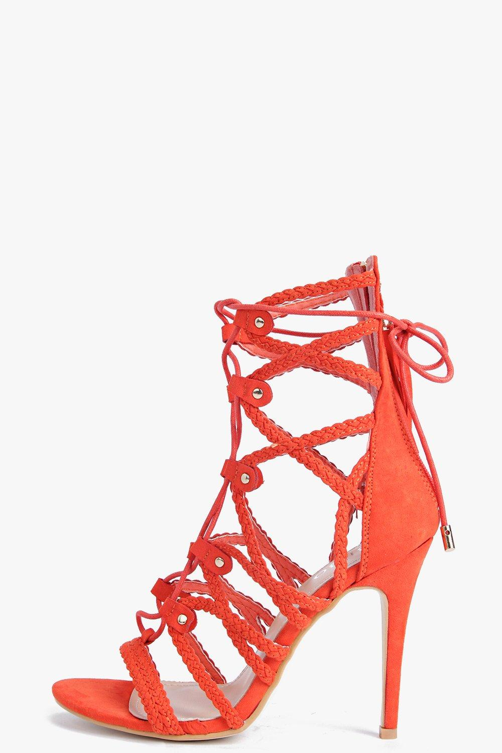 Rose Plaited Strap Cage Heels