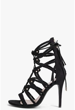 Leila Plaited Strap Cage Heels