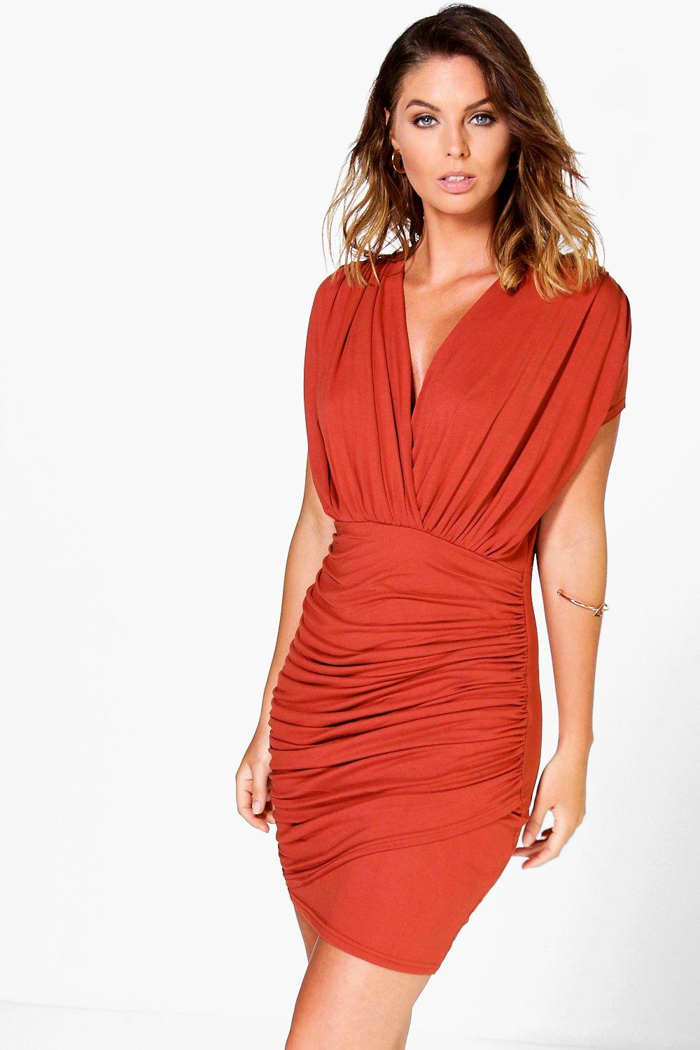 Lisa Wrap Gathered Bodycon Dress