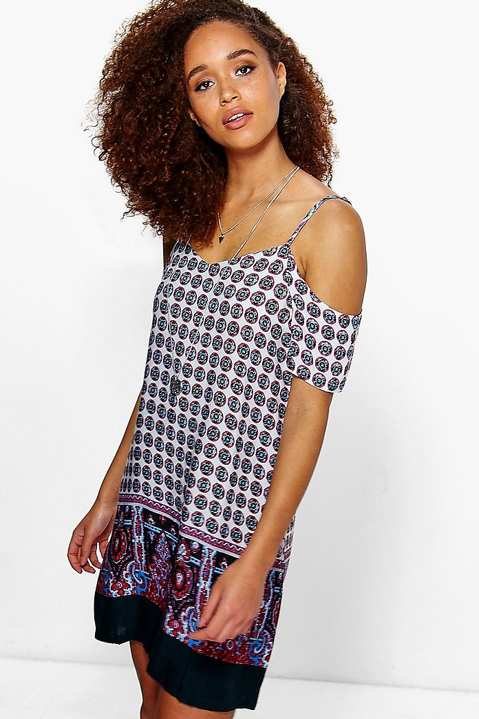 Callie Cold Shoulder Border Print Shift Dress