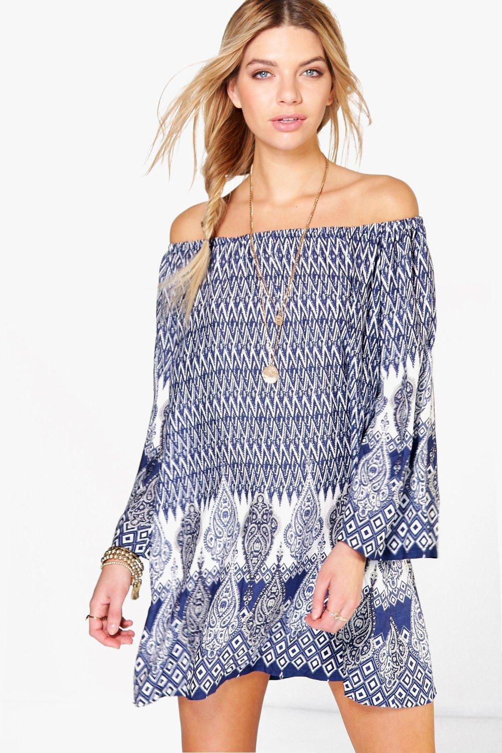 Pamela Off Shoulder Paisley Swing Dress