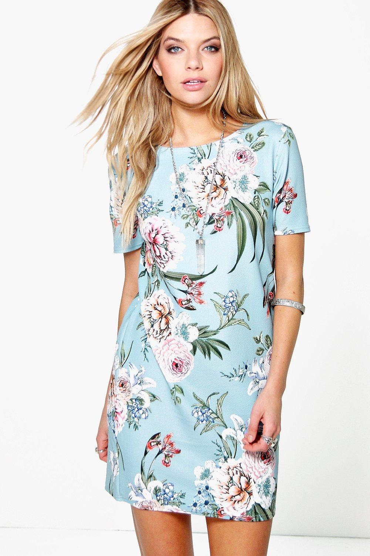 Kerry Flower Printed Summer Shift Dress | Boohoo
