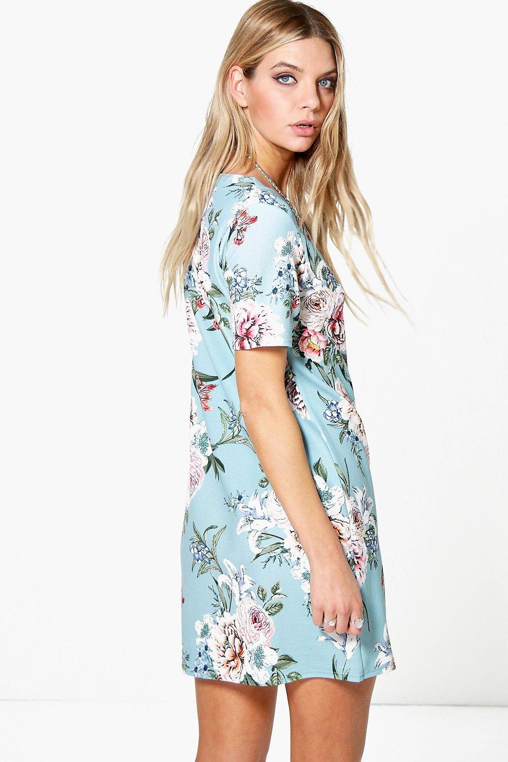 Kerry Flower Printed Summer Shift Dress at boohoo.com