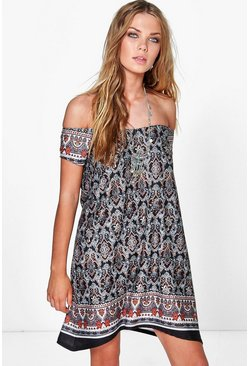 Amy Boho Paisley Printed Cold Shoulder Dress