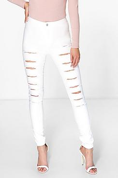 Avah High Rise Ultra Rip Skinny Jeans