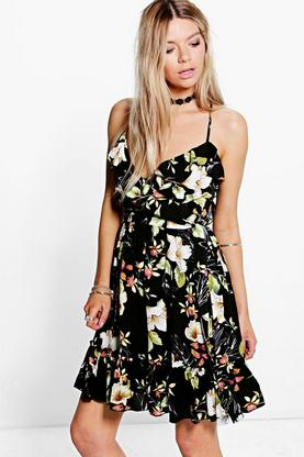 Allie Floral Strappy Skater Dress