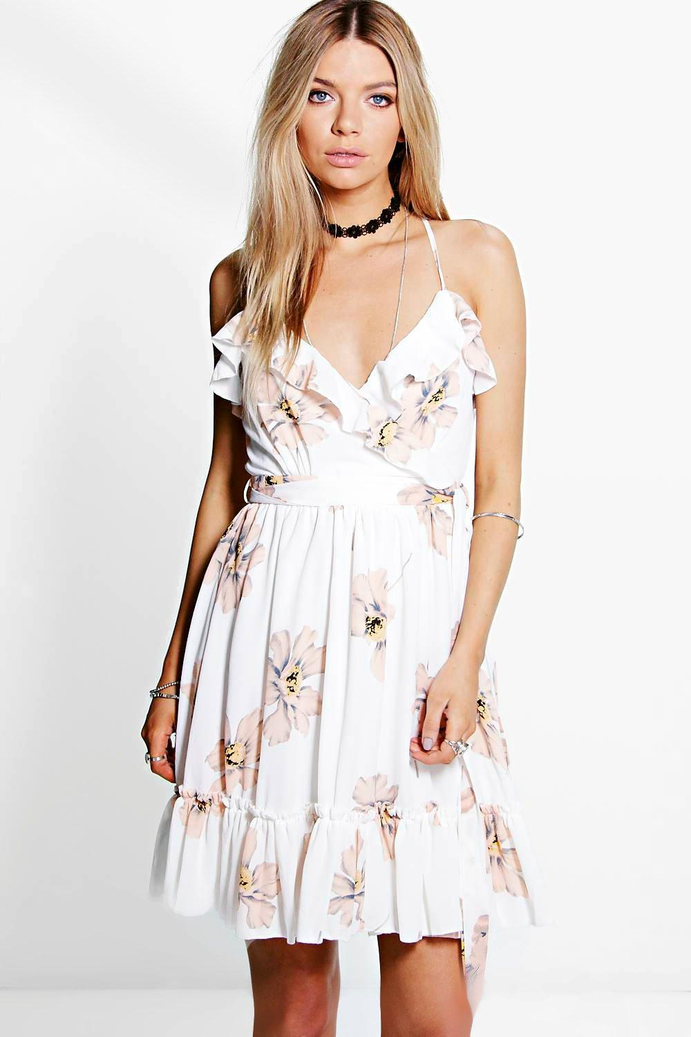 Verra Floral Ruffle Skater Dress