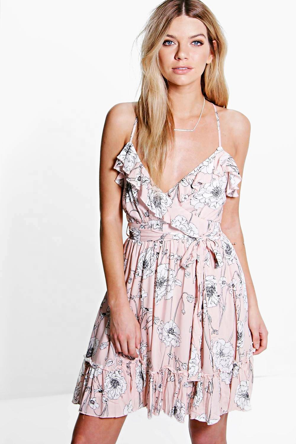 Cassie Floral Ruffle Skater Dress
