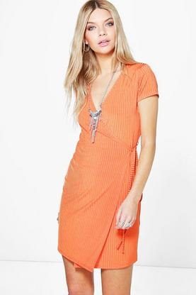 Thalia Ribbed Wrap Mini Dress