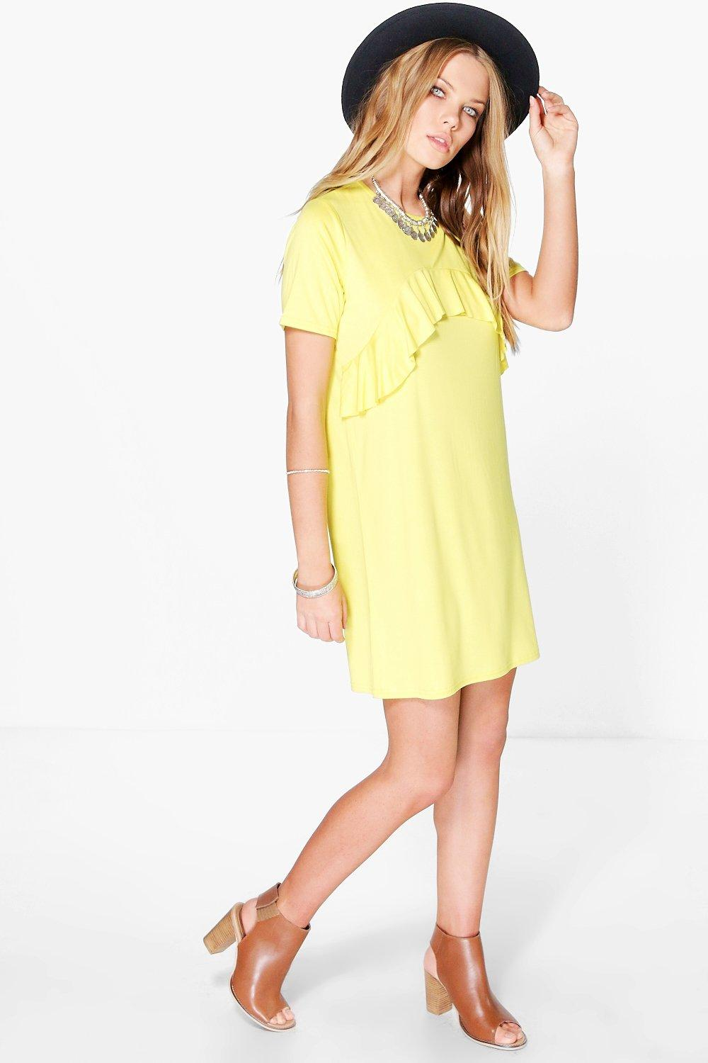 Laura Ruffle Front T-Shirt Dress