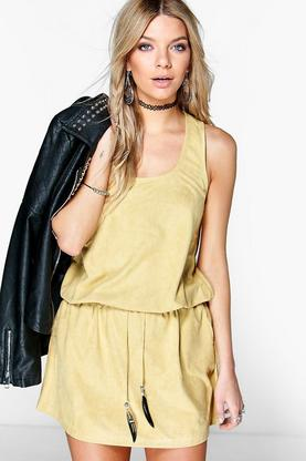 Erica Feather Tie Drawstring Suedette Dress