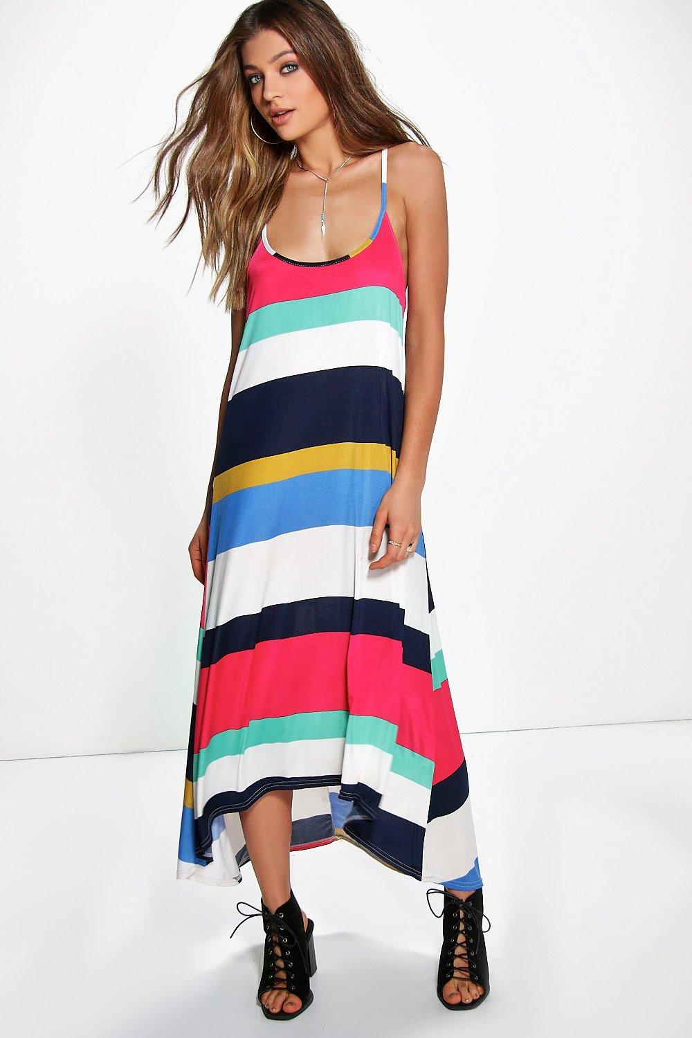 Stripe High Low Midaxi Dress stripe