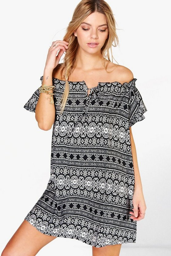 Eleonora Off The Shoulder Tie Shift Dress