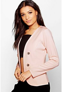 Amelie Collarless Double Breasted Blazer