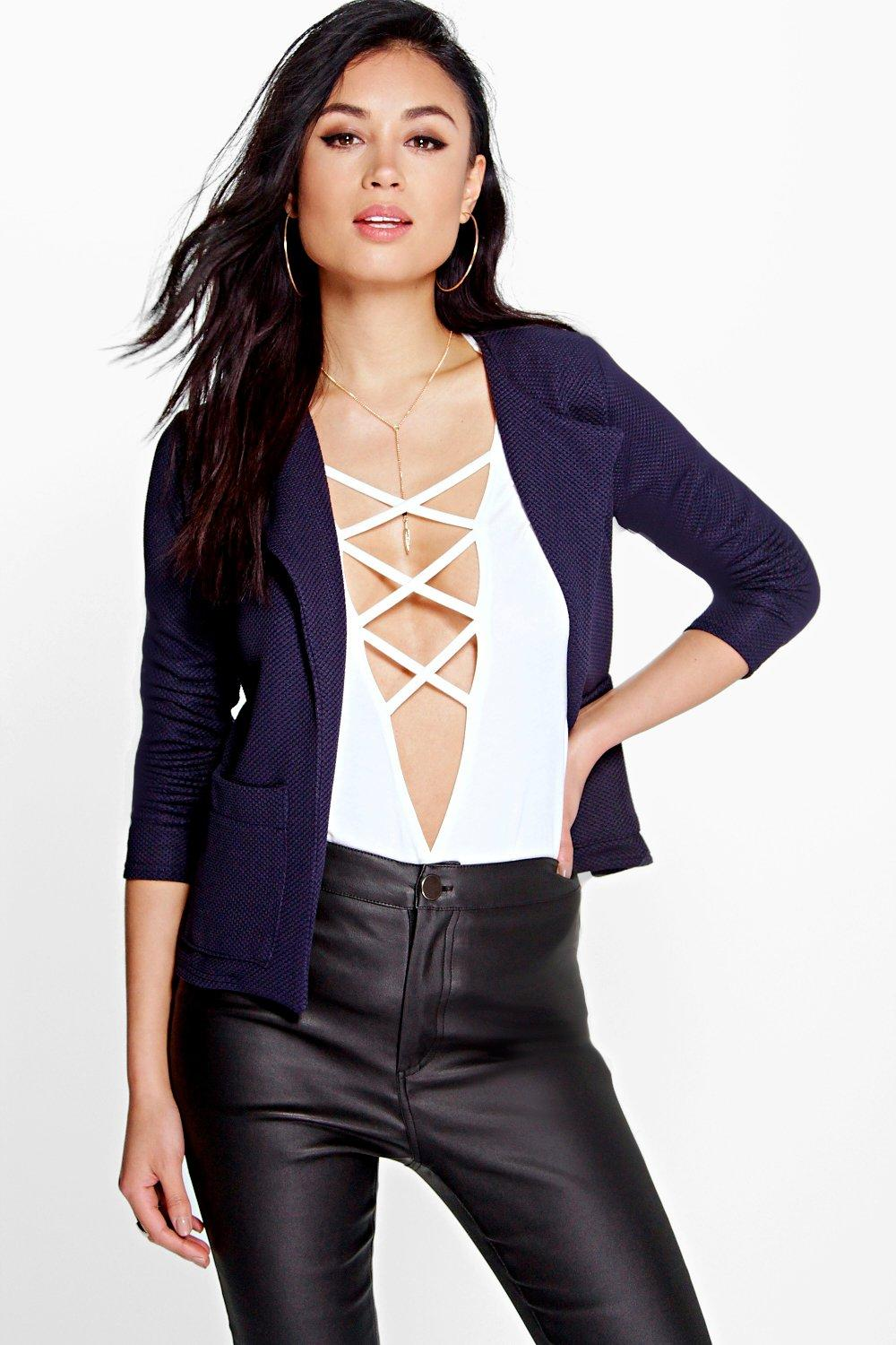 Amy Textured Crop Blazer With Pockets