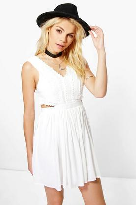 Daria Lace Panel Detail Cut Out Skater Dress