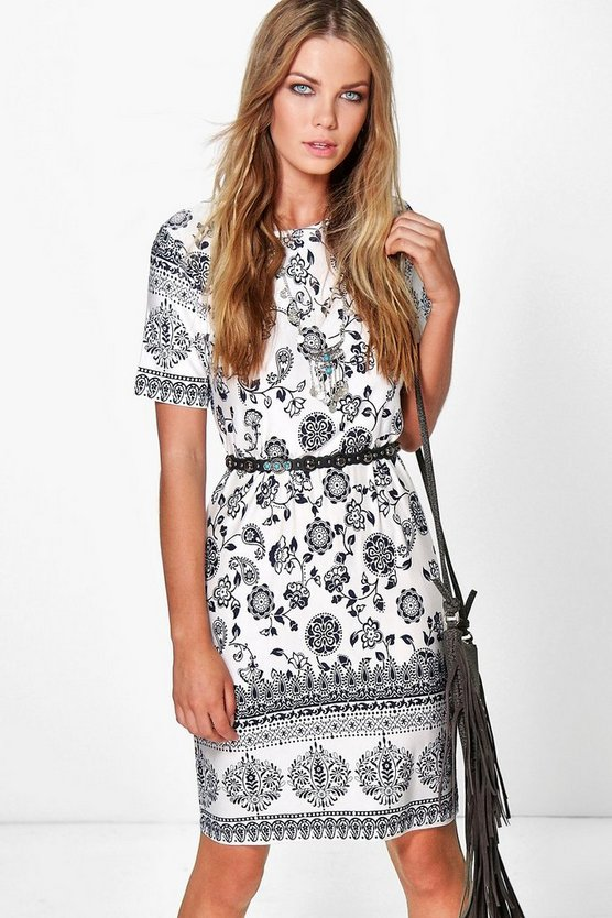 Karolyn Ethnic Printed Boho Shift Dress