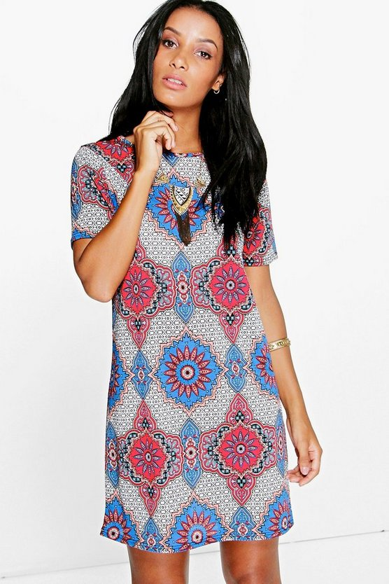 Emma Cap Sleeve Printed Shift Dress