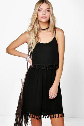 Harmony Double Layer Tassel Shift Dress