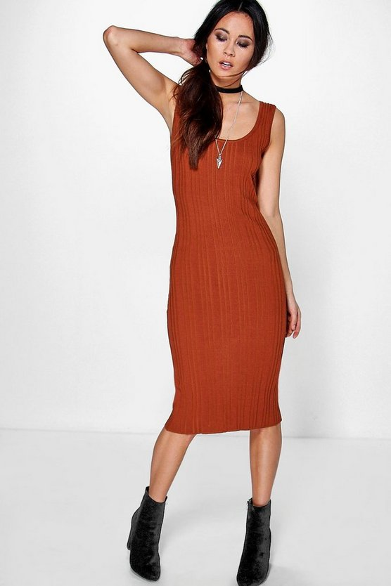 Lydia Mixed Rib Knit Midi Dress
