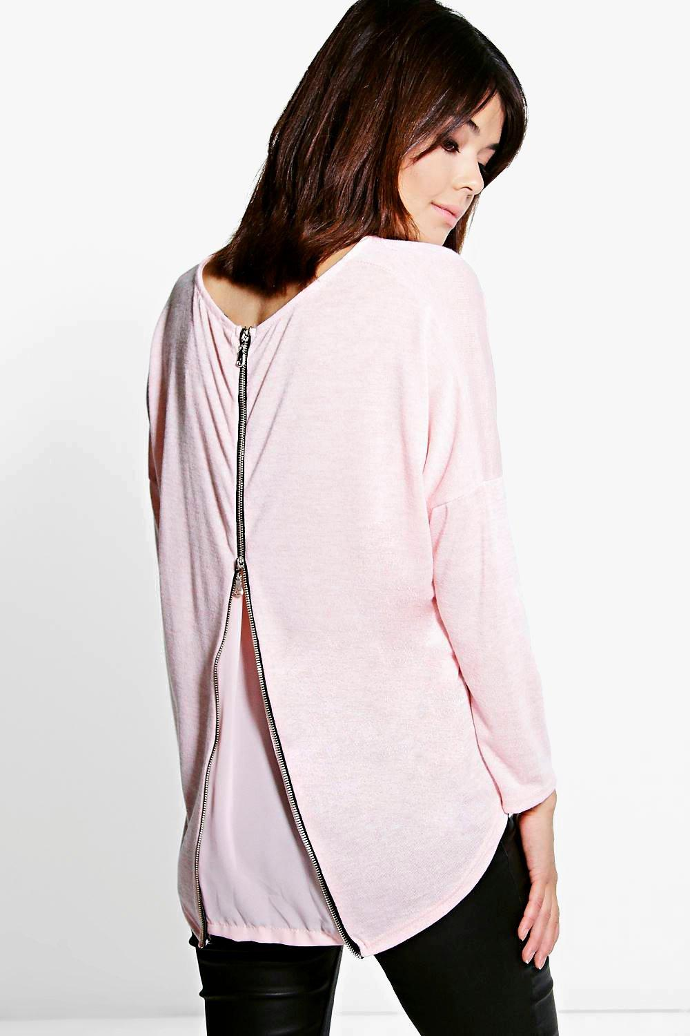 Keira 2 In 1 Zip Back & Chiffon Jumper