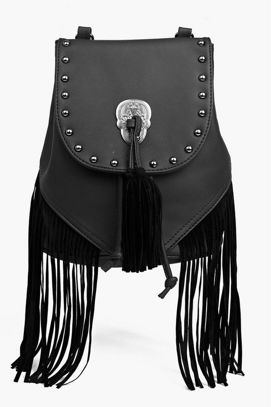 Jessica Stud And Skull Fringed Rucksack