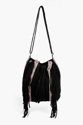 Tia Embroidered And Fringed Duffle Bag