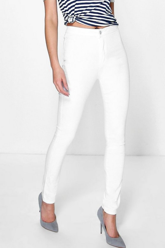 Avah High Rise Tube Jeans In White