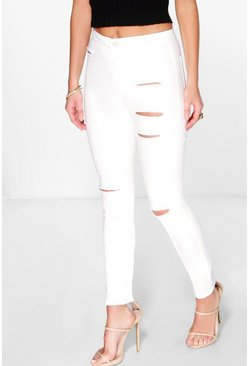 Verity High Rise Jeans With Knee And Thigh Rips