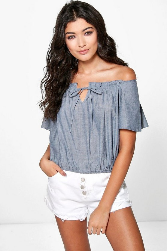 Kelly Off The Shoulder Chambray Top