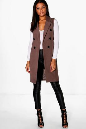 Megan Sleeveless Double Breasted Wool Look Coat
