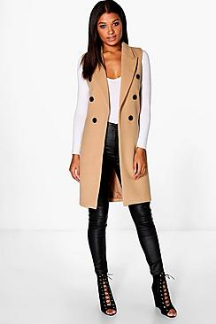 Amy Sleeveless Double Breasted Wool Look Coat
