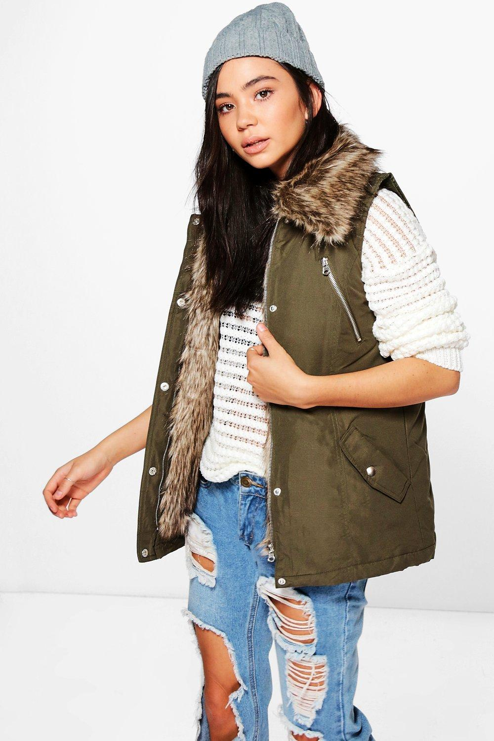 Detachable Faux Fur Trim Parka Gilet khaki
