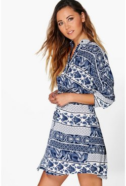 Ayameko Paisley Print Shirt Dress