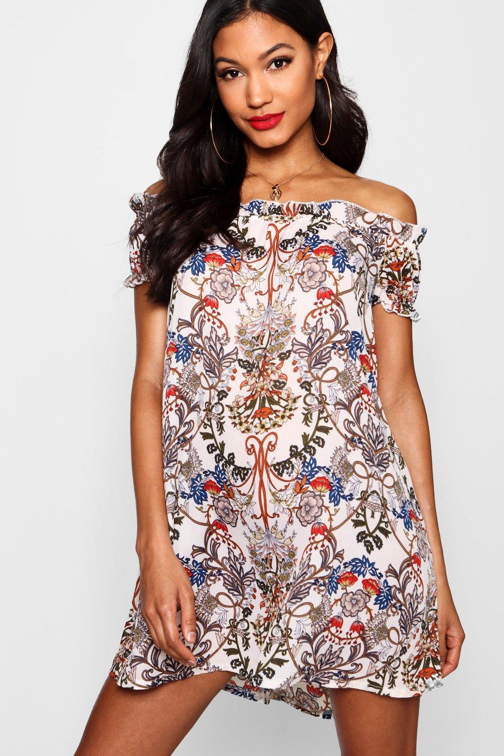 Reea Floral Print Off The Shoulder Dress