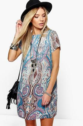 Akemi Paisley Print Cap Sleeve Shift Dress