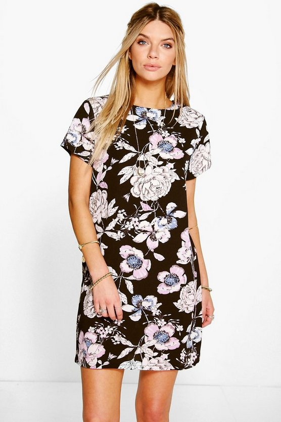 Aeya Floral Print Cap Sleeve Shift Dress
