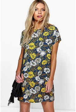 Meili Floral Print Cap Sleeve Shift Dress