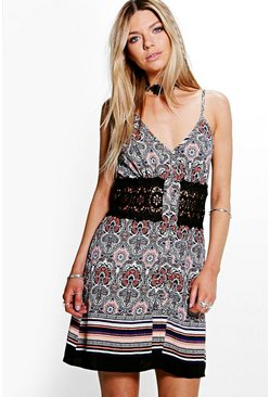 Ren Floral Border Print Crochet Waist Skater Dress